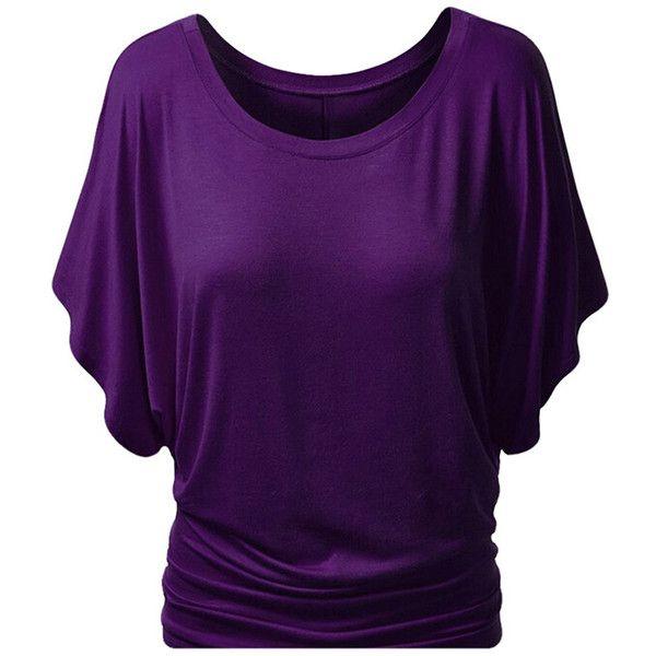Womens Stylish Plain Boat Neck Batwing Sleeve T-shirt Purple ...