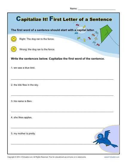 Capitalization and Punctuation Worksheets Pdf Kindergarten ...