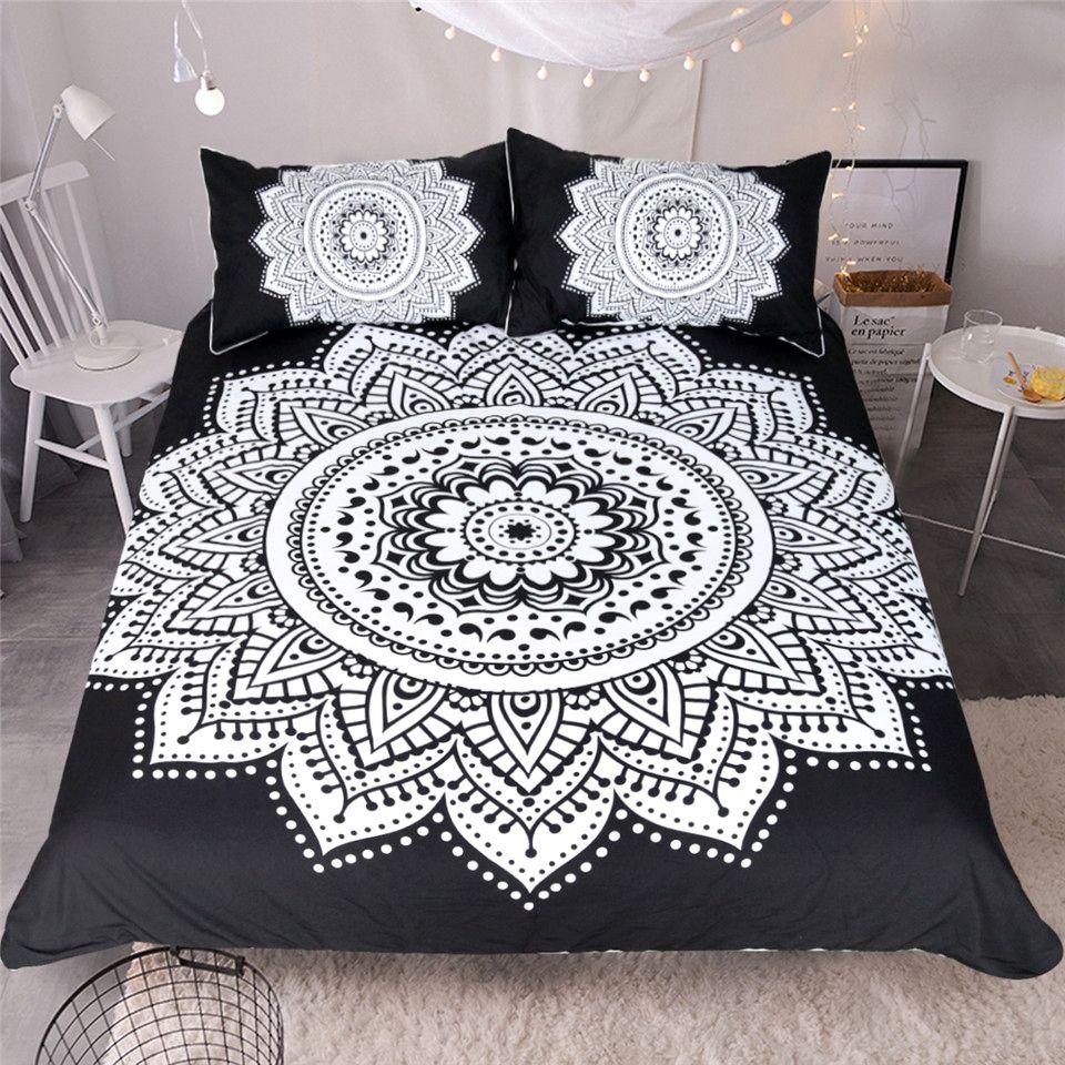 Black White Mandala Print Bedding Set White Bed Set Queen