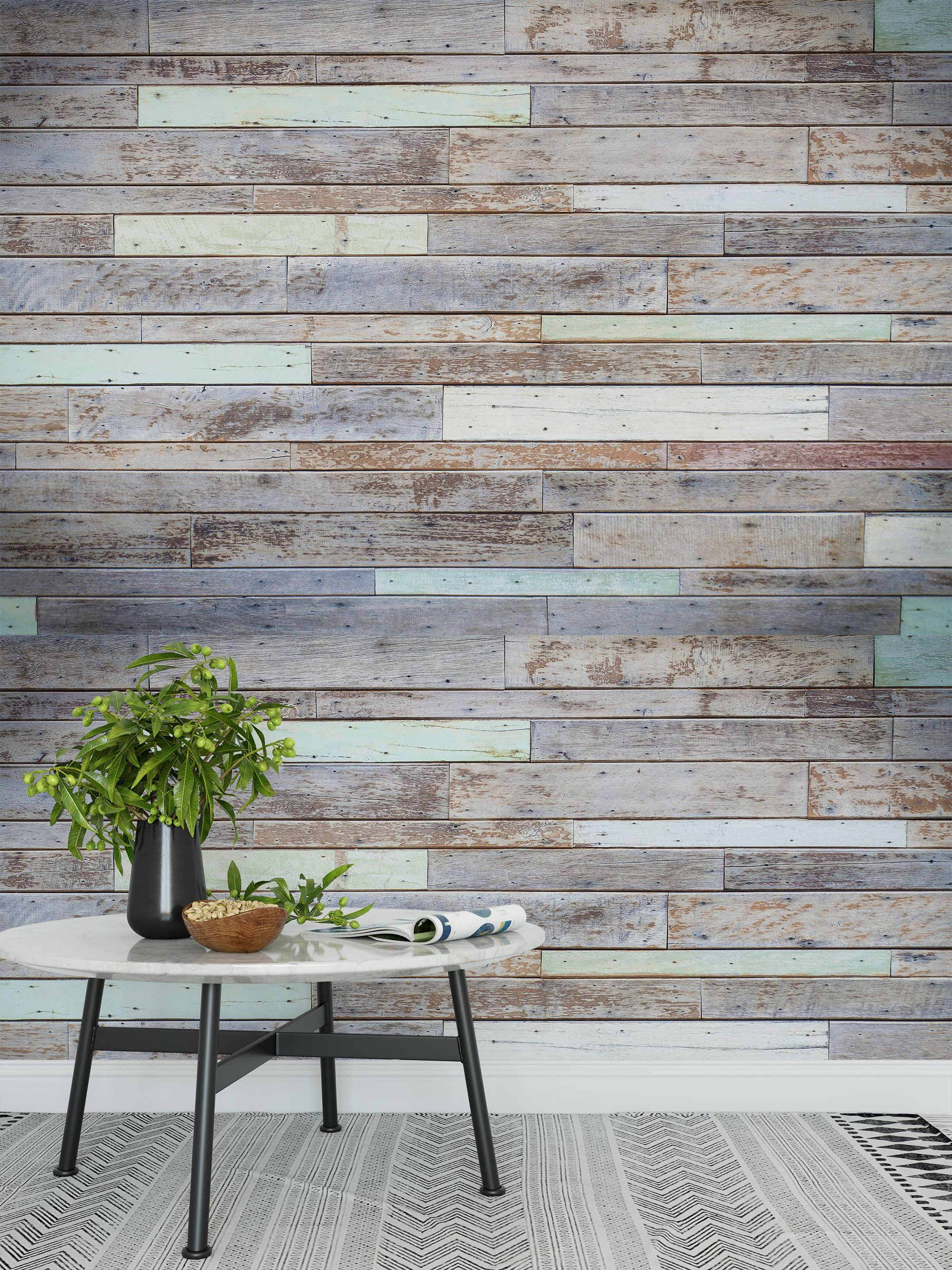 Removable peel and stick wallpaper Vintage distressed wood