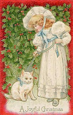 .Christmas Victorian Girl & her Kitty