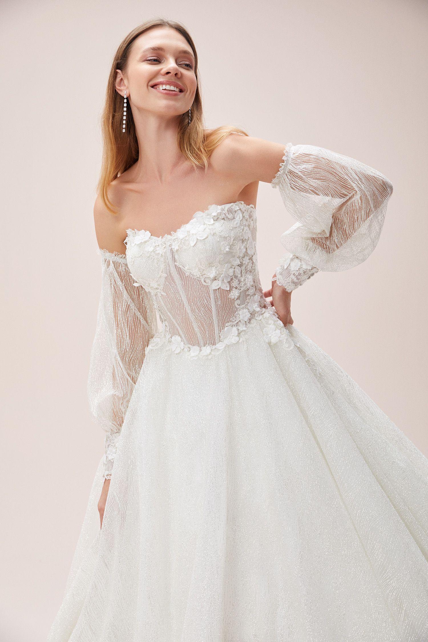 Straplez A Kesim Balon Kollu Gelinlik Oleg Cassini Dantel Gelinlik Gelinlik The Dress