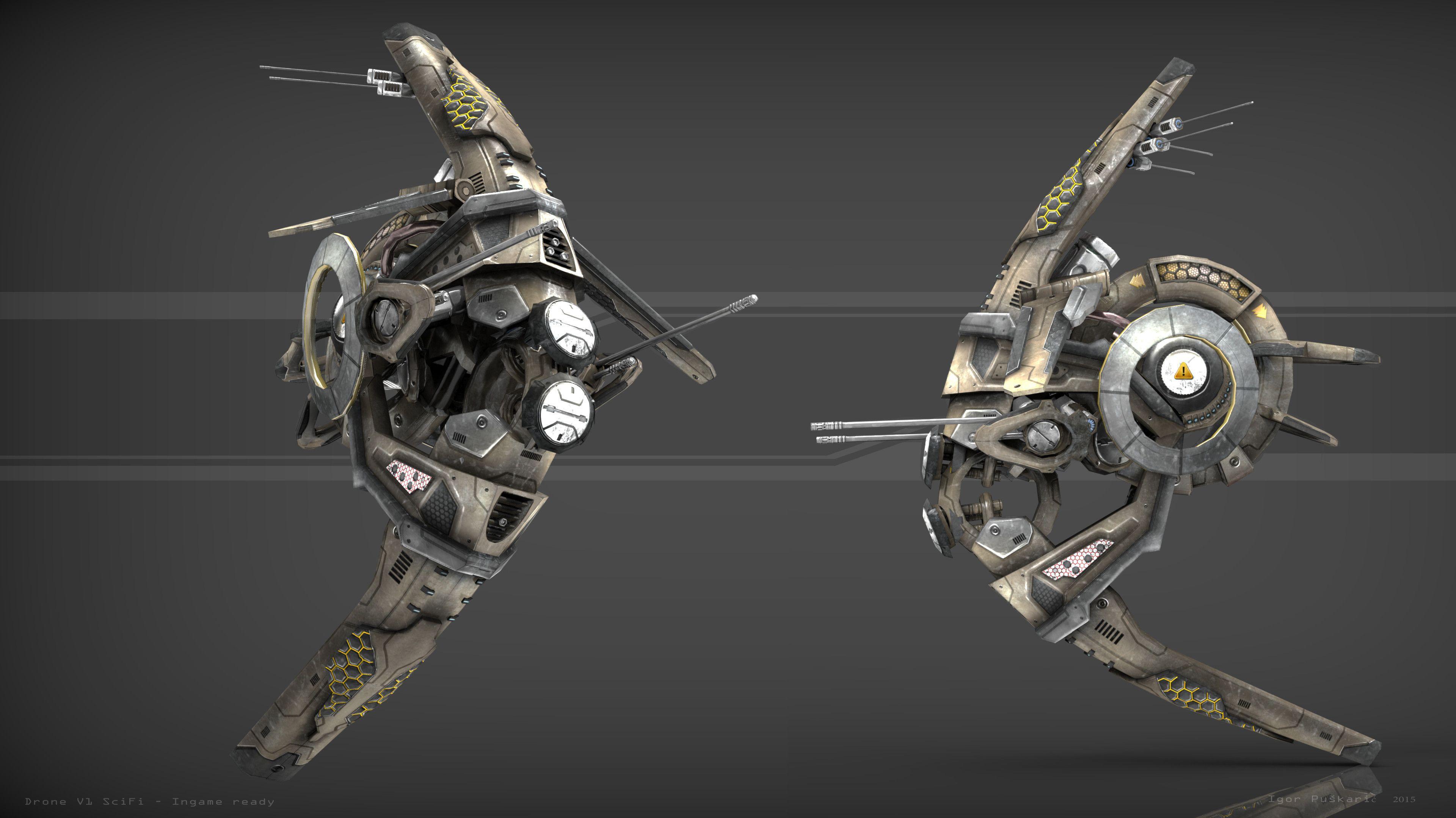 Drone Scifi 3D Model - 3D Model | Spaceships & Space
