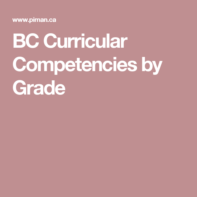 bc curricular competencies by grade