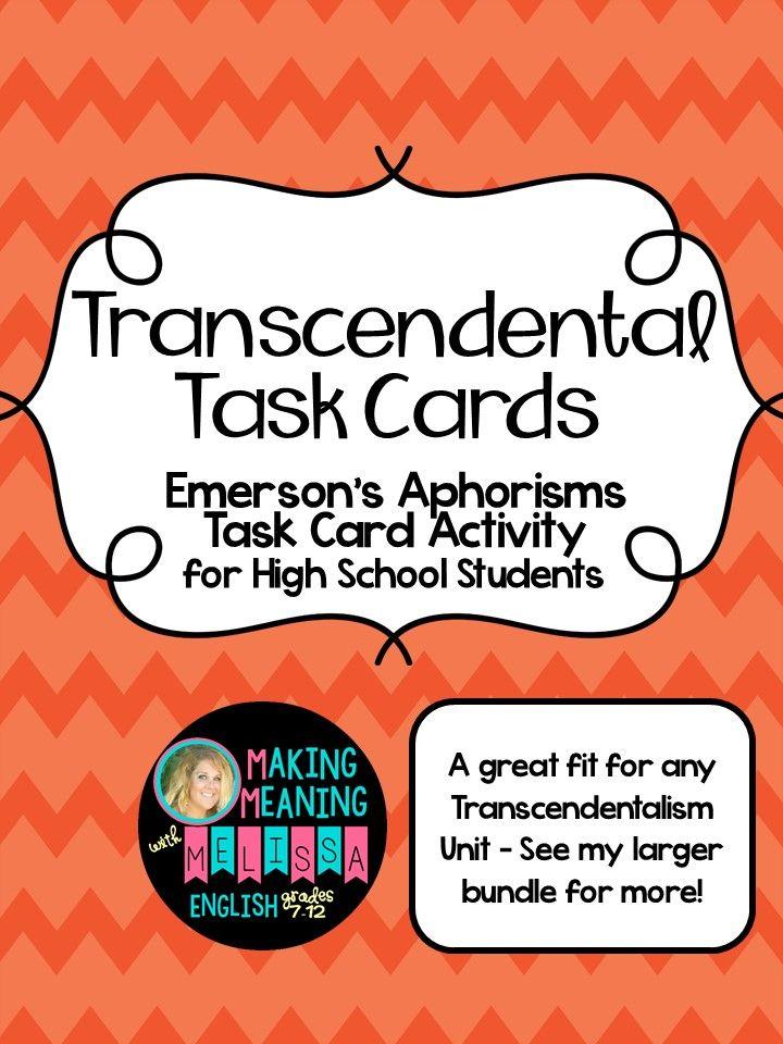Transcendentalism Task Cards Teaching ideas Pinterest Prompts