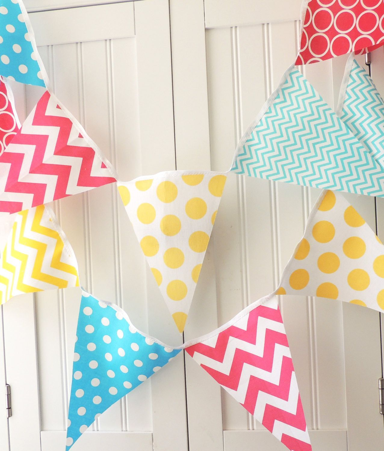 Banner bunting fabric pennant flags aqua blue hot pink yellow