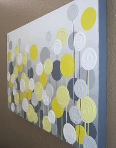 Gelb Weiß Diy Moderne Leinwandbilder Rund Kreise | Wandgestaltung ... Gelbe Dekowand Blume Fr Wohnzimmer