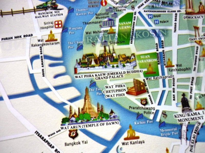 Bangkok central map with tourist attractions travelinter Round