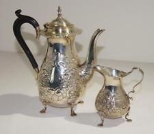 George V Sterling Silver Ellis Jacob Greenberg Coffee Pot & Creamer London C1929