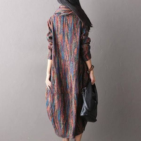 Material : Wool Blend Sleeve Length : Long sleeve Waist : Loose waist Season: Spring and autumn Collar: Round Neck Style: Loose style L (US 8-10 )Length: 115 cm