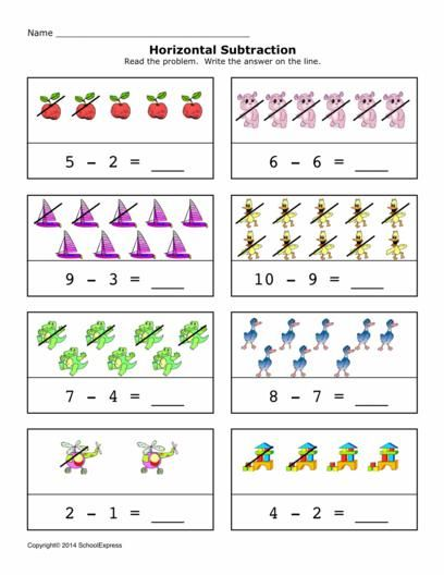 Free Math Worksheets Subtraction Differences  Horizontal