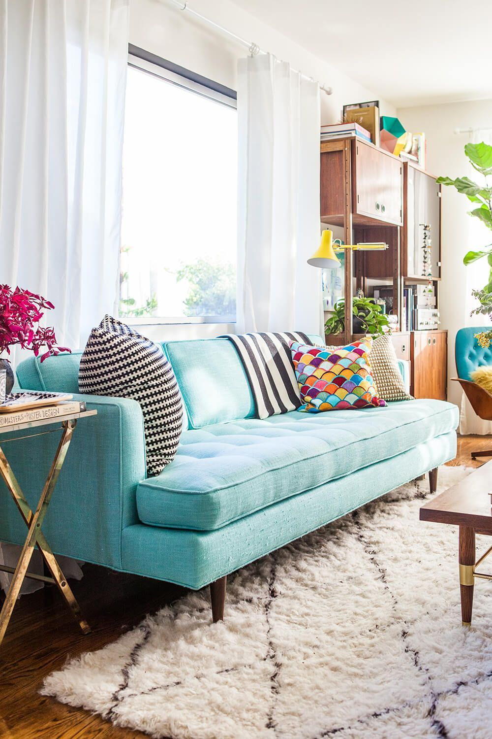 24 Types Of Sofas That Are Great For Your Current Character Modern Sofa Couches Living Room Decor Turquoise Sofa Colorful Couch