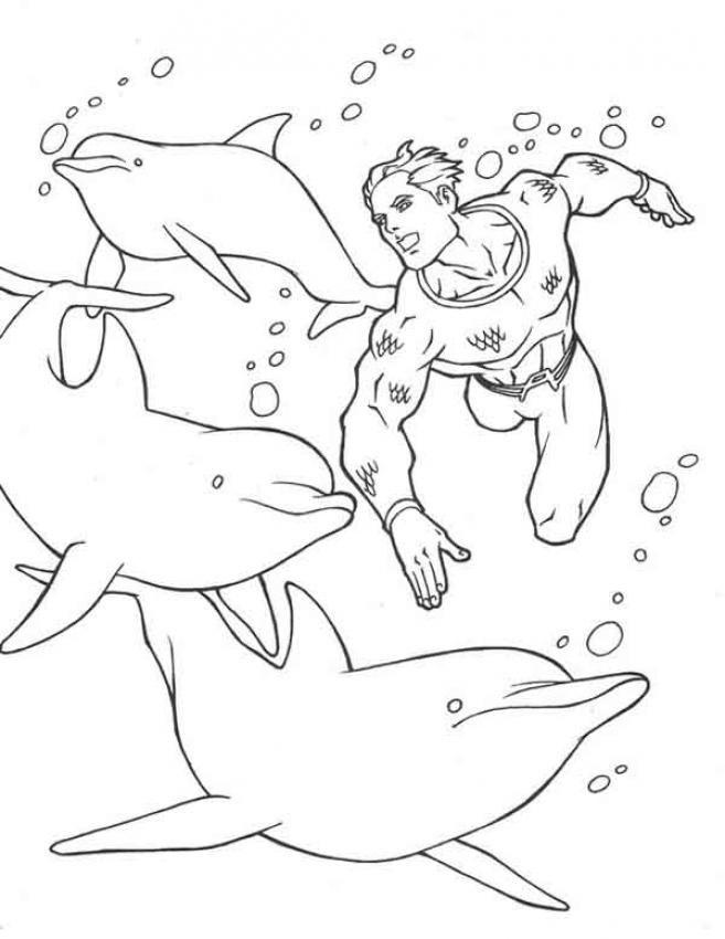 Coloriage d'un plongeur au milieu des dauphins. Un joli coloriage pour faire découvrir le monde marin aux enfants.