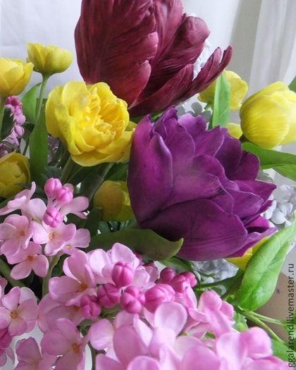 """Цветы ручной работы. Ярмарка Мастеров - ручная работа. Купить Интерьерный букет """"Здравствуй,весна!""""из полимерной глины. Handmade. Разноцветный"""