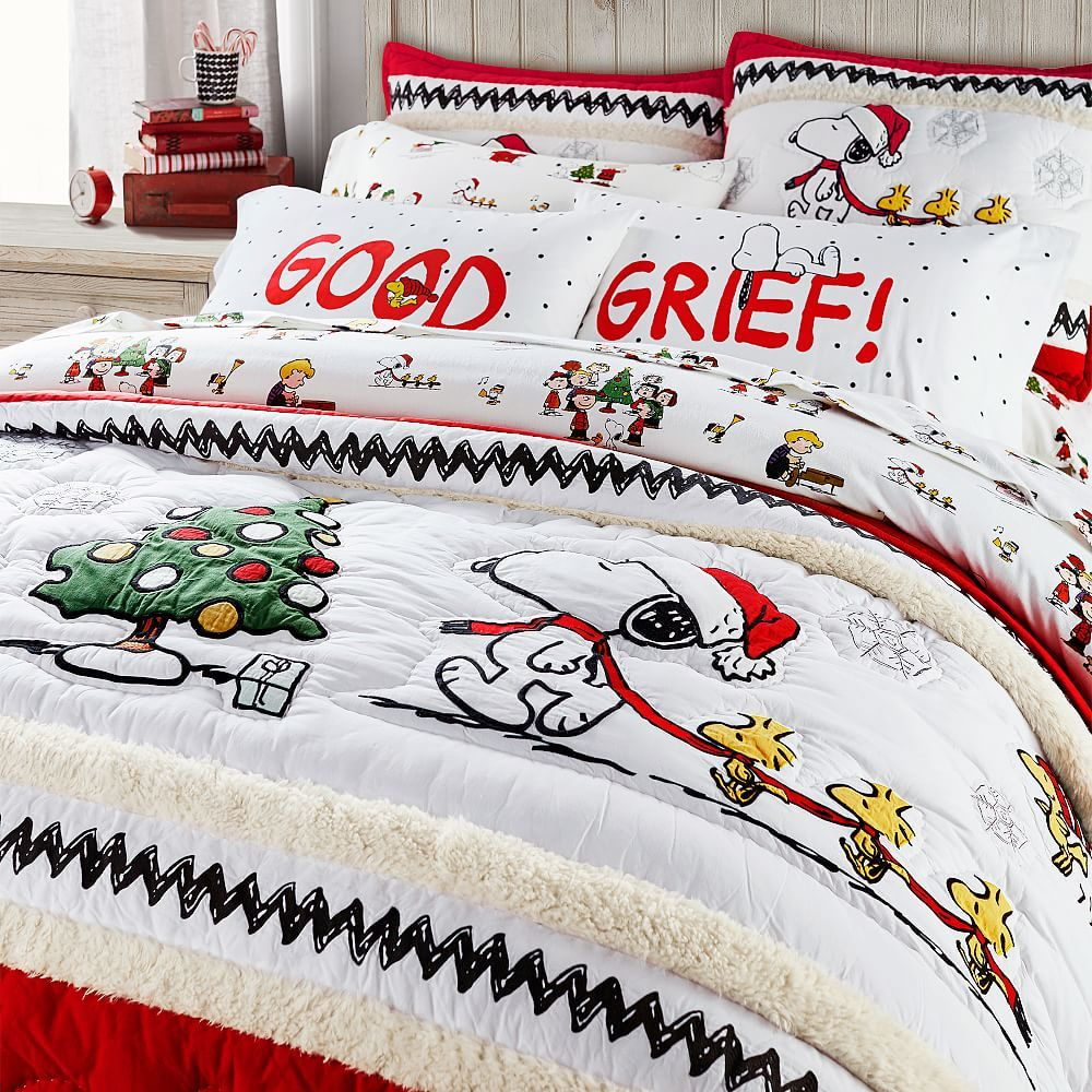 Pottery Barn Kids Flannel Holiday Peanuts Twin Duvet Sham Snoopy Christmas