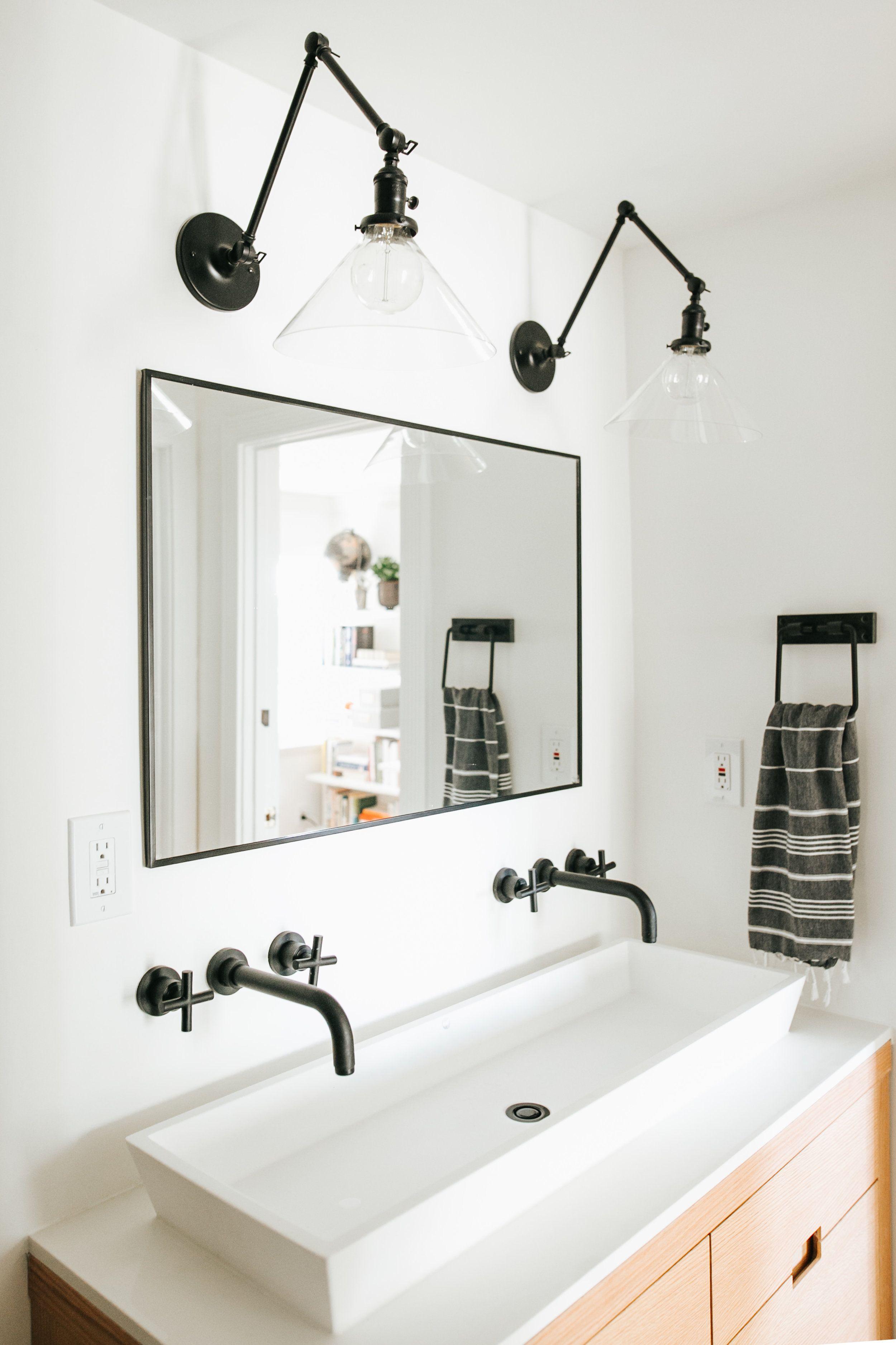 Before After The Making Of A Master Bathroom Black Faucet Bathroom Bathroom Sconces Modern Bathroom Light Fixtures