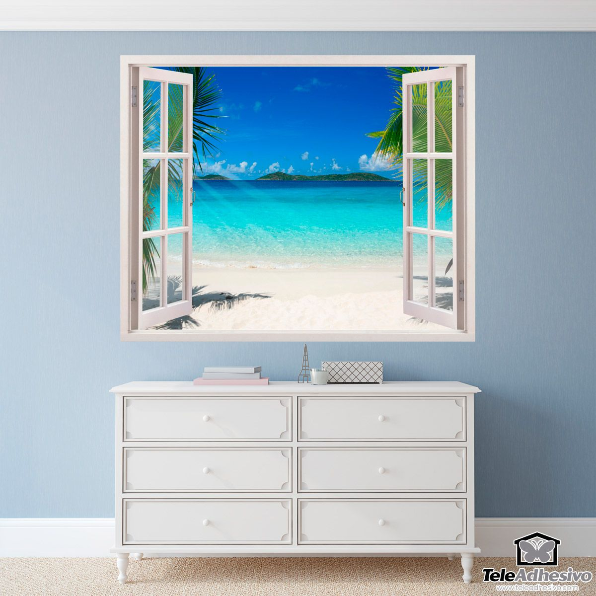 Adesivi Murali Finte Finestre.Adesivi Murali Spiaggia Caraibica Adesivi Murali Finestre Nel 2019