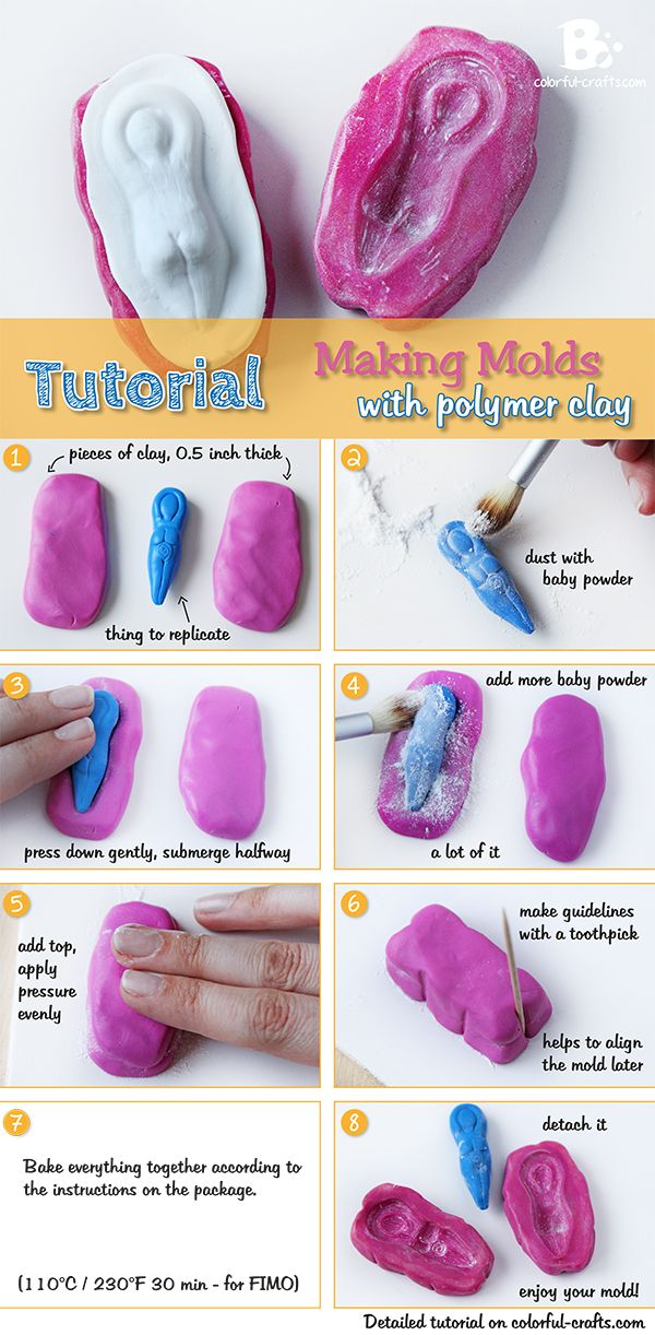 How to make a Polymer Clay Mold! easy #DIY #Tutorial Look at later Pinterest Clay molds ...