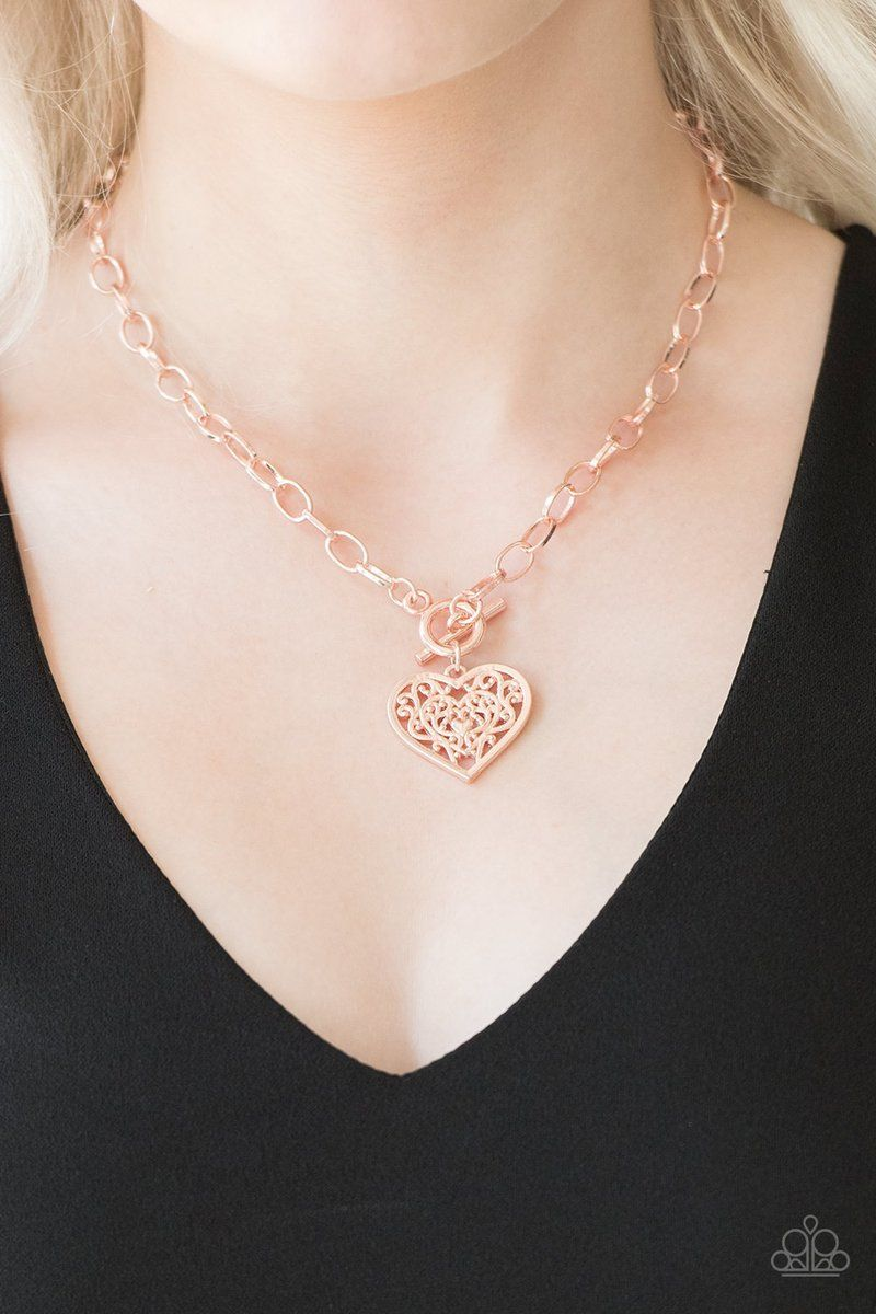 Paparazzi Victorian Romance Necklace Rose Gold Heart 35 Rose Gold Heart Necklace Victorian Romance Rose Gold Necklace