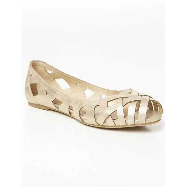 b92611aad20c1 Lane Bryant Cutout Peep-Toe Flat (270 HRK) ❤ liked on Polyvore featuring  shoes, flats, gold, wide width flats, peep toe flat shoes, lane bryant shoes,  ...