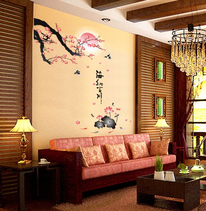 New Chinese Wall Stickers Flowers Birds Home Decor Living Room Art