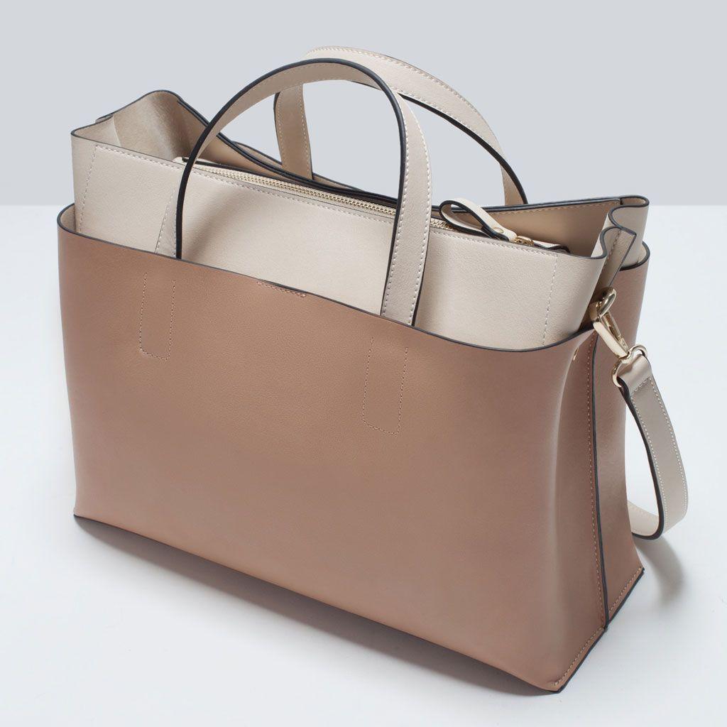 732125e8470 39.99 ZARA - SHOES & BAGS - COMBINED CITY BAG | Leather Shoulder ...