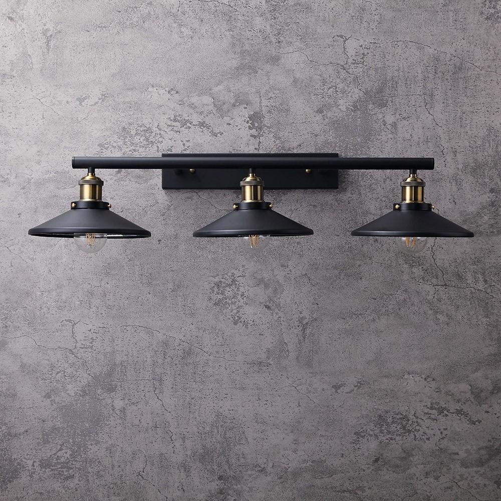 Tray Black Metal Saucer Shaped Shade 3 Light Linear Industrial Bath Vanity Light Wall Light In 2020 Wall Lights Bath Vanity Lighting Vanity Lighting