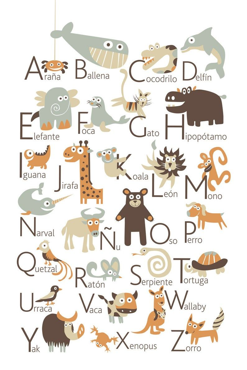 Spanish Alphabet Poster With Animals From A To Z Big Poster Etsy In 2020 Spanish Alphabet Alphabet Poster Alphabet Coloring Pages