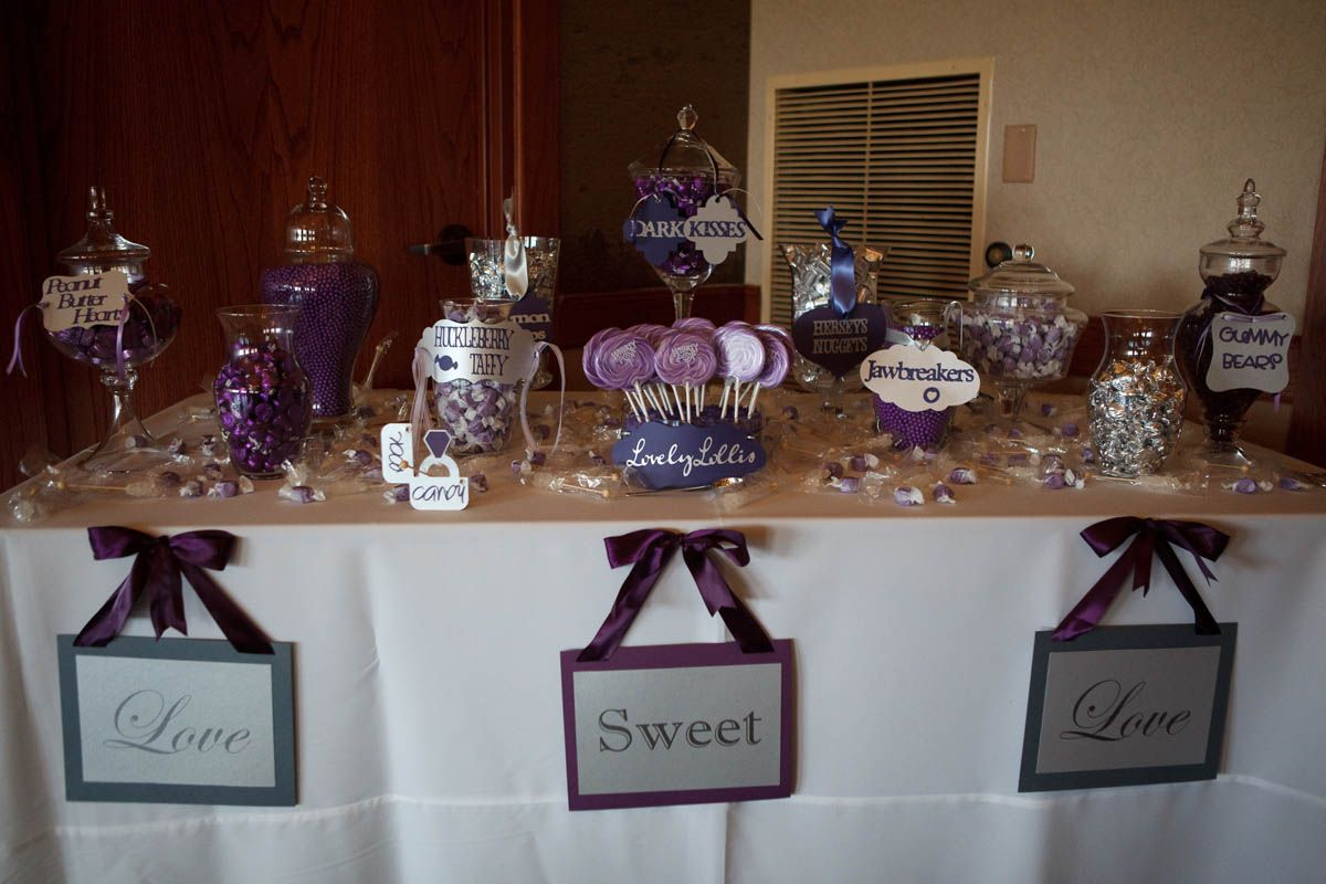 Candy Table Signs Favors Platypus Papers Purple Wedding Reception