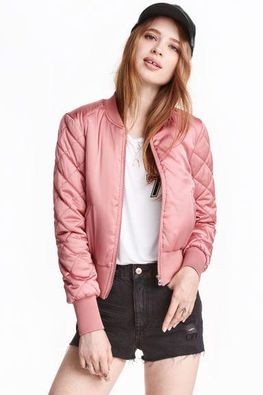 Lady en satin effet matelassé bomber veste avec manches poche noir or rose rose