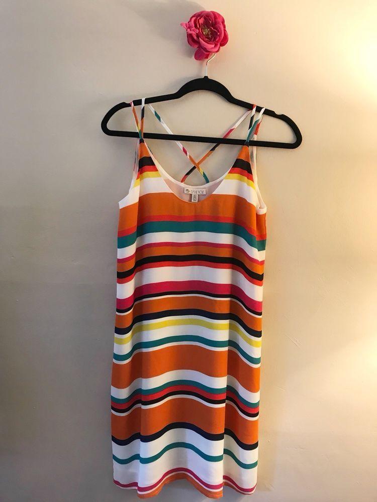 1d631e749b5e Elaine Rose Slip Dress Multicolored Stripes Size 2 #fashion #clothing  #shoes #accessories