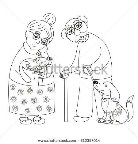 Cute Darling Grandmother And Grandfather Granny With Cat And Old Man With Dog On Leash Vector Illustratio People Coloring Pages Coloring Pages Coloring Books