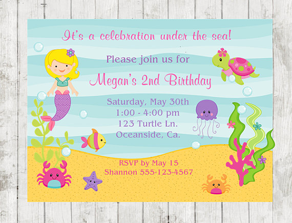 Birthday Invitation Under The Sea Party Mermaid 10 PRINTED Invitations