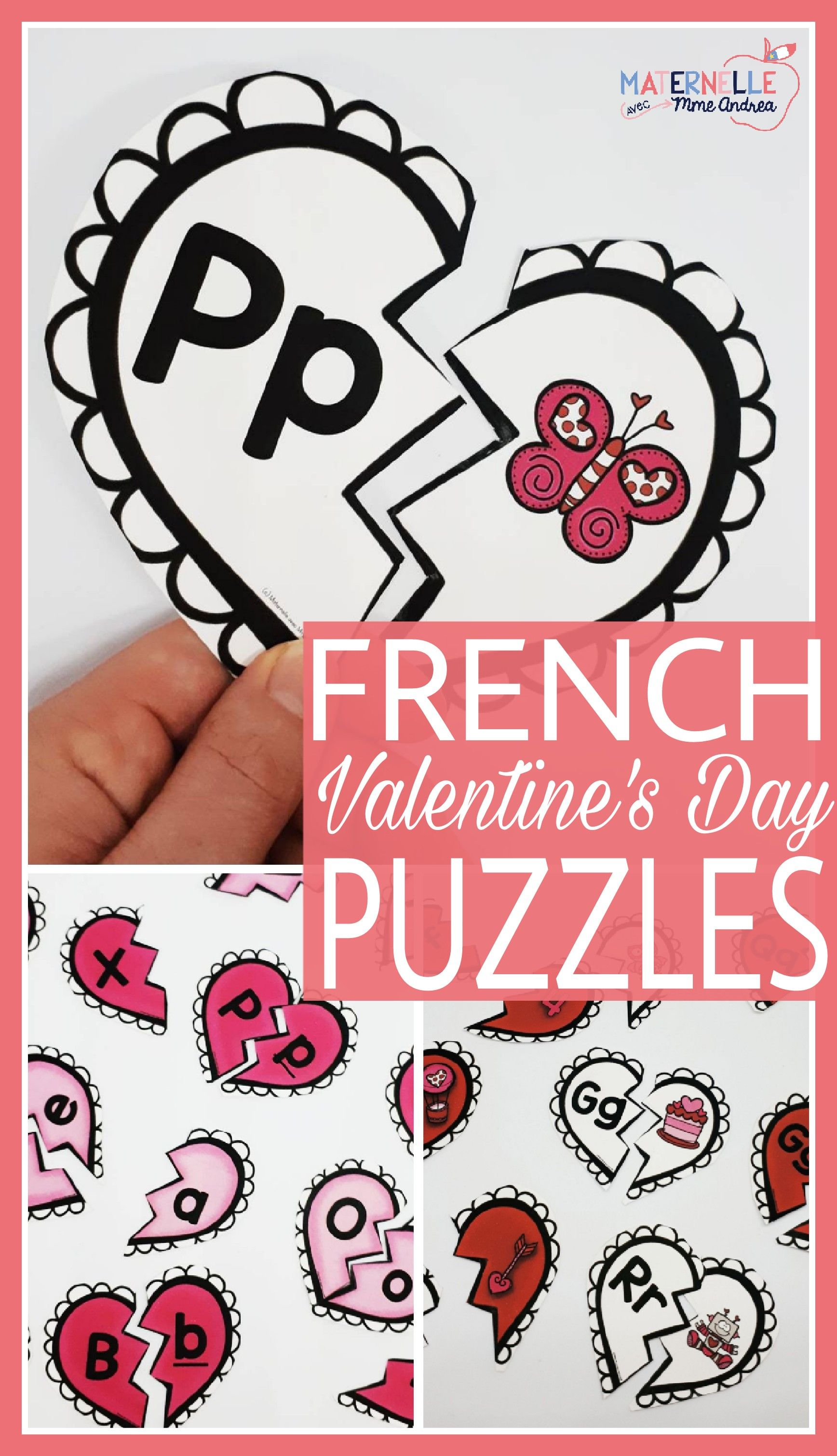 FRENCH Alphabet Valentine's Day Literacy Centre Lettres
