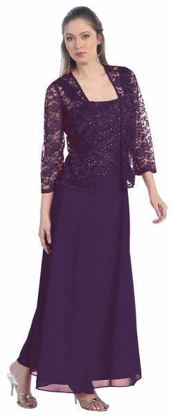 Long Chiffon Plum Mother of Groom Dress Lace 3/4 length Sleeve Jacket
