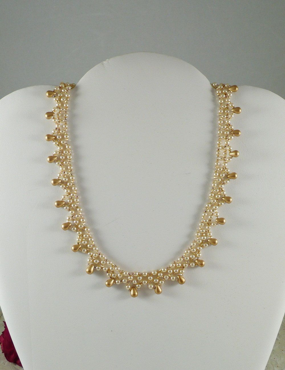 Pearl Necklace Woven with Golden Drops by IndulgedGirl on Etsy