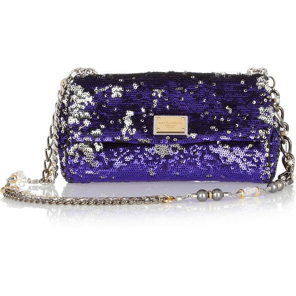 Dolce & Gabbana Sequined leather shoulder bag ($450) ❤ liked on Polyvore featuring bags, handbags, purses, clutches, purple, accessories, leather purses, man bag, hand bags and purple leather handbag