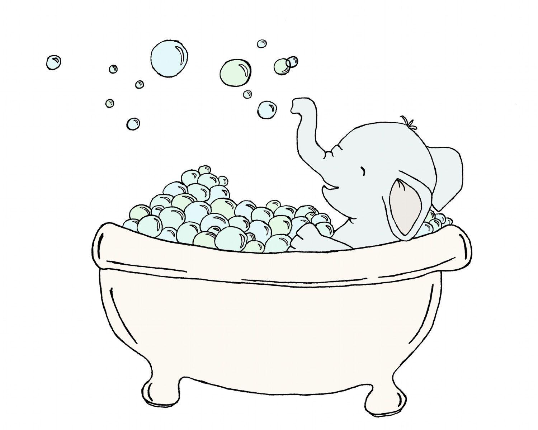 Bathroom Art Elephant Bubble Bath Elephant By