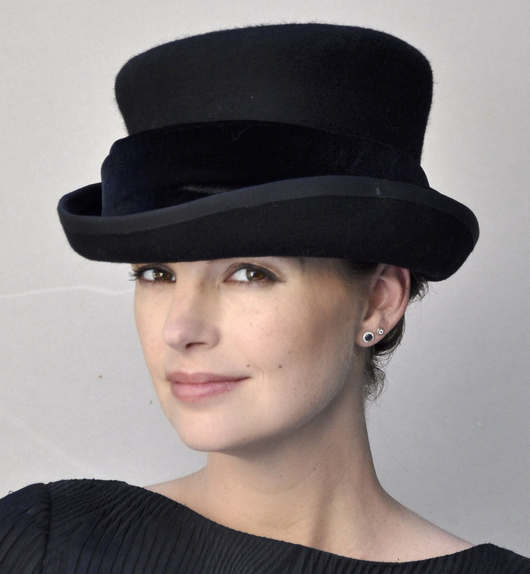 4497f109 Formal Black Hat, Ladies Black Winter Hat, Funeral Hat, Black Winter Top Hat,  Downton Abbey Hat, Victorian English Riding Hat