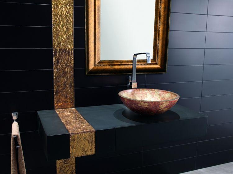 Bad Schwarz Gold Spiegel Matte Fliesen Waschbecken Badezimmer In