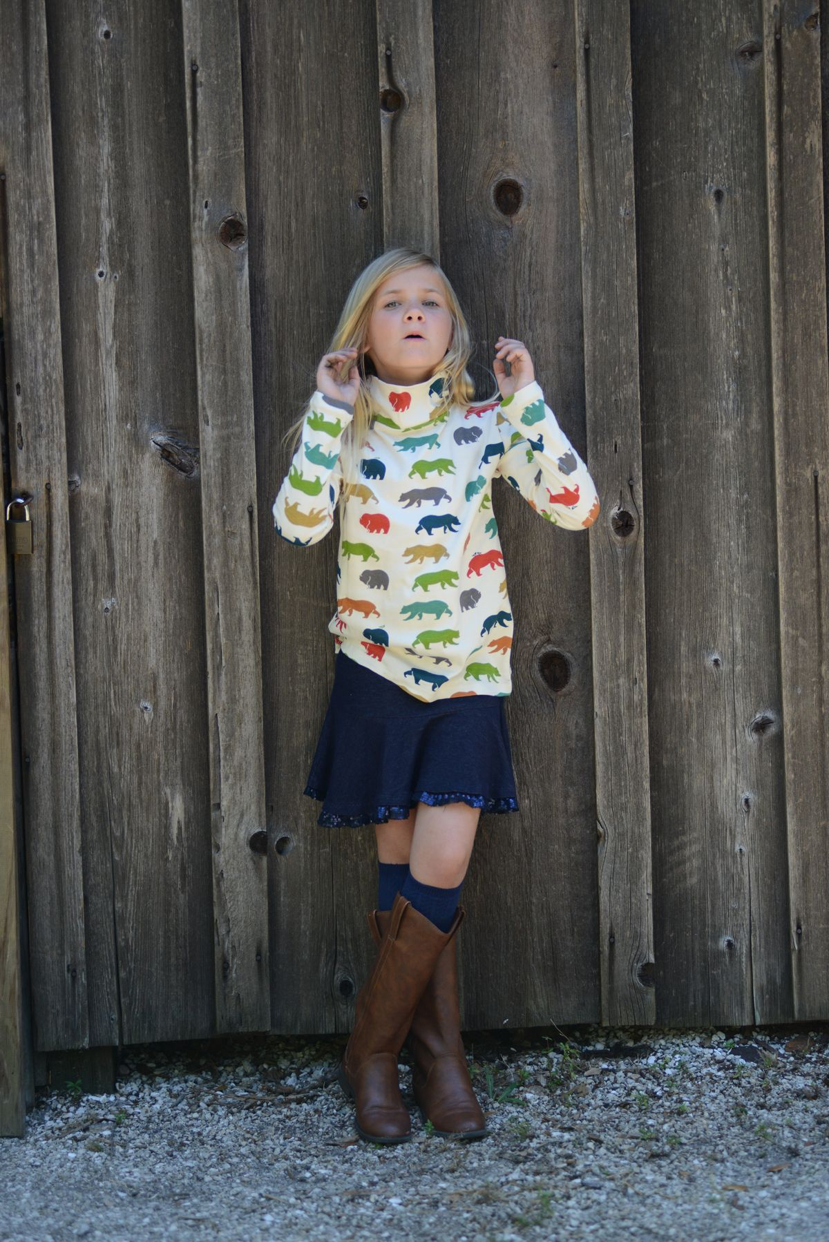 organic cotton childrenus long sleeve turtleneck t shirt bear