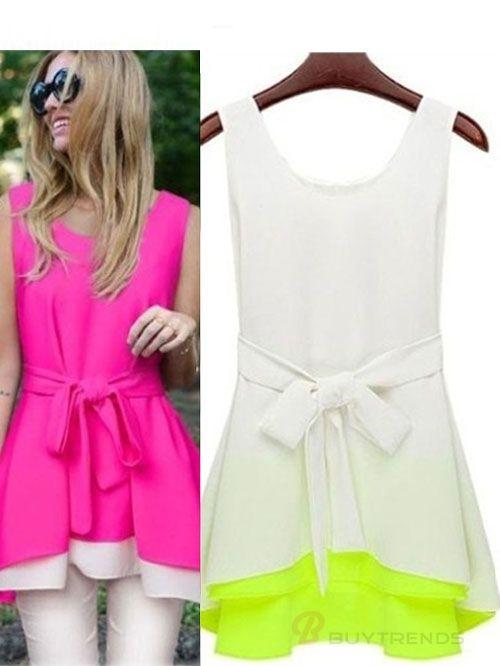 Elegant Sleeveless Bowknot Irregular Drape Oversize Women's Summer T-Shirts - BuyTrends.com