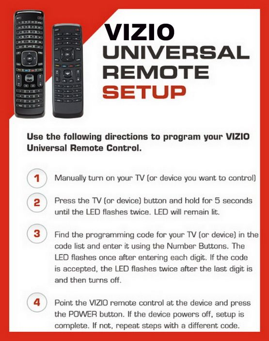 Vizio Tv Universal Remote Setup Instructions With Remote Codes Codes For Universal Remotes Vizio Remote Universal Remote Control