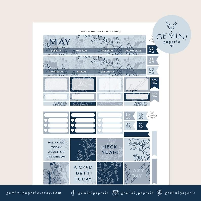 MAY Monthly View planner sticker kit for Erin Condren but can be used in other
