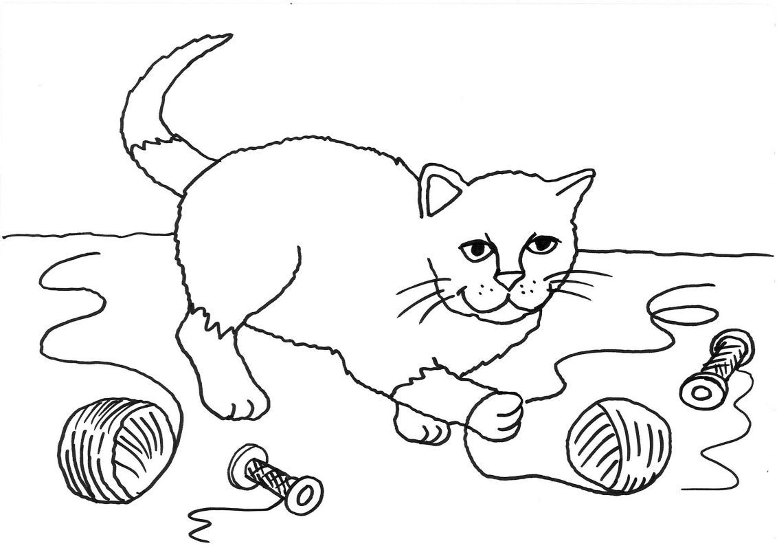 ausmalbild katzen: katze mit wollknäuel ausmalen kostenlos