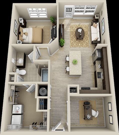 50 One 1 Bedroom Apartment House Plans Architecture Design Sims House Plans House Plans Small House Plans