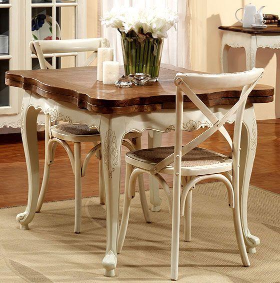 Mesa cuadrada extensible vintage nantes mesas de comedor for Sillas antiguas tapizadas modernas