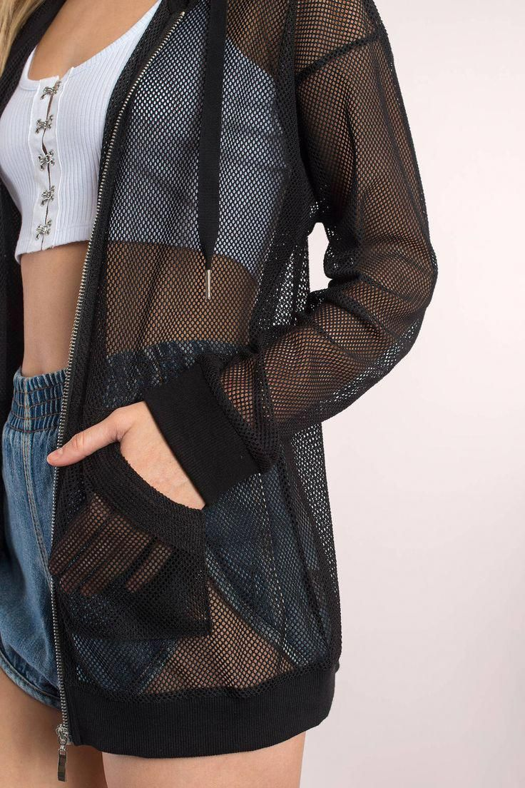 Search Zoe Black Mesh Jacket on Tobi.com! longline tunic jacket mesh see through breezy summer lightweight spring warm weather casual sporty athleisur...
