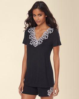 6a0a4608710  MySomaWishList Soma Intimates Embraceable Cool Nights Lace Short Sleeve  Pajama Top Black  somaintimates