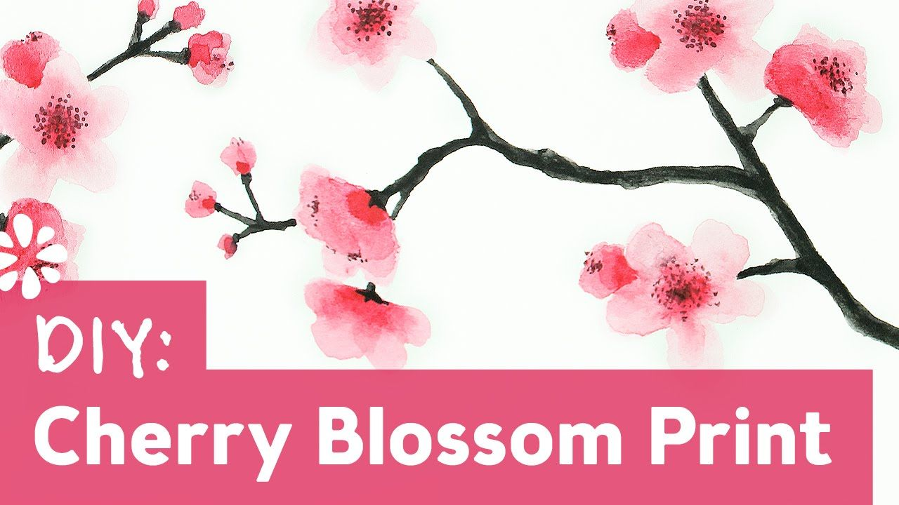 Video By Sea Lemon In Today S Video Sea Lemon Takes Us Along On Her Tutorial On How To Make In 2020 Cherry Blossom Painting Tree Watercolor Painting Flower Painting